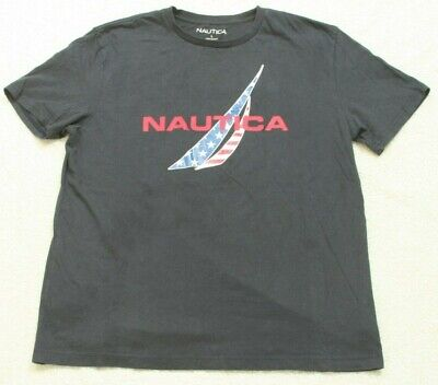 Nautica Blue White & Red Short Sleeve Cotton Graphic Tee T-Shirt Top Large G9