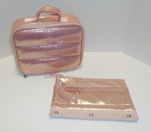 Justice Girls Quilted Rose Gold Lunch Box & Pencil Pouch Bag New