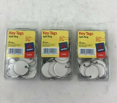 Avery 11025 Key Tags Metal Rim White 1 14 Diameter Qty3 Pkgs150 Tags