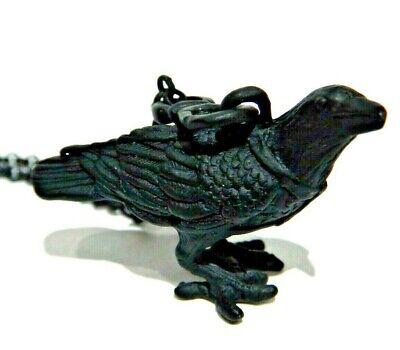 RAVEN FIGURAL PENDANT NECKLACE matte black chain pet crow bird charm gothic W6 ()