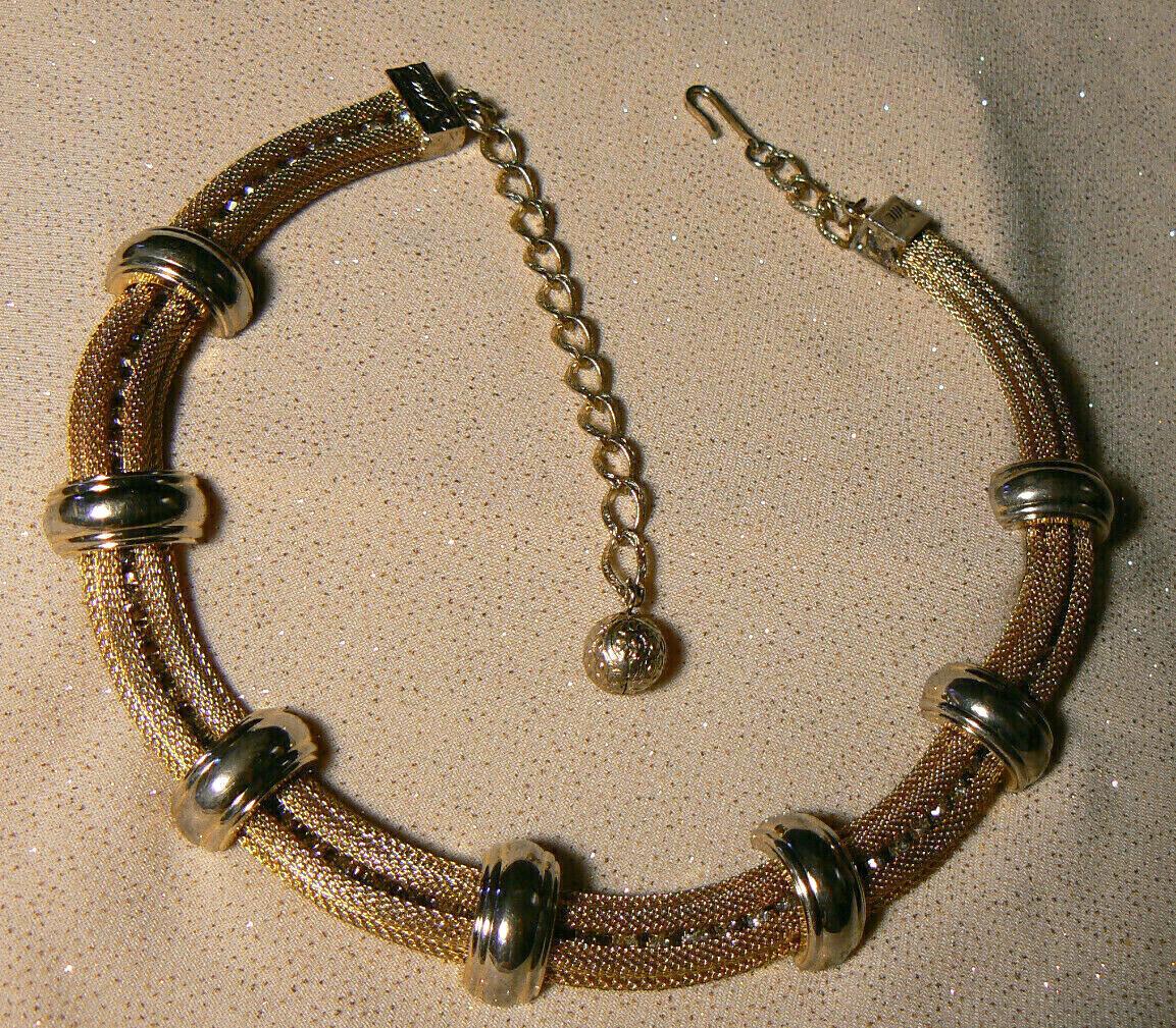 High End HOBE Goldplate Choker Mesh Necklace Floating Rhinestone Crystals
