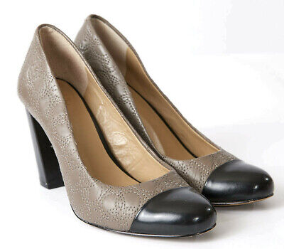 Ann Taylor Block Heel Women Size 6.5 Shailly Quilted Leather, Taupe & Black Pump