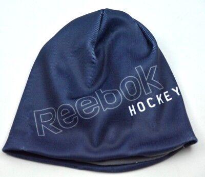 Reebok Hockey Sublimated Logo Blue Knit Fleece Lined Winter Hat Beanie Toque