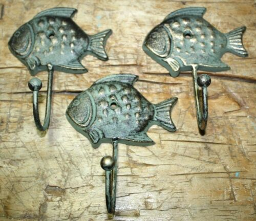 3 Cast Iron Antique Style SUN FISH Coat Hooks Hat Hook Rack Towel Nautical Beach