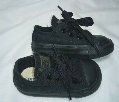 CONVERSE Infant 3 Solid Black Lace Up Shoes Chucks All Star Low Top Canvas Baby