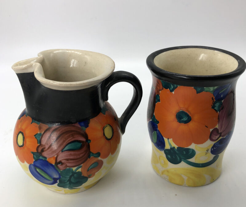 Vintage Czech Floral Peasant Art Pottery PAI Hand Painted Sugar Creamer Set
