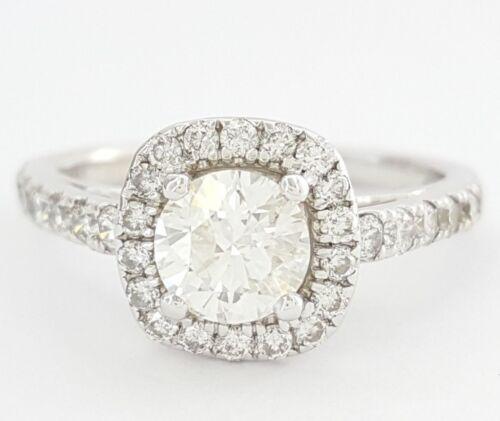 1.5 Ct 14k Gold Round Brilliant Cut Diamond Halo Engagement Ring