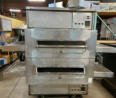 Split-belt Middleby Marshall 360 Double Stack Natural Gas Conveyor Pizza Oven