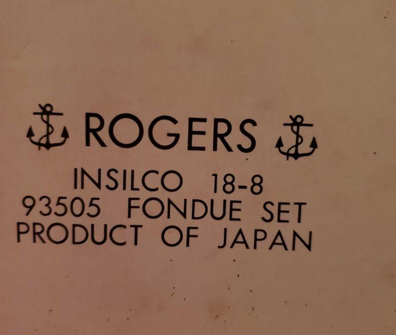 NIB NOS Rogers Insilco 18-8 Stainless & Teak Mid-Century Modern Chafing Fondue