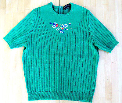 (KELLY GREEN SHORT SLEEVE RIBBED KNIT SWEATER CHEST 38 JAMES KENROB by DALTON)