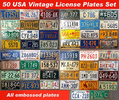 ALL 50 UNITED STATES VINTAGE LICENSE PLATE SET NUMBER TAG LOT USA RARE 1960s-90s