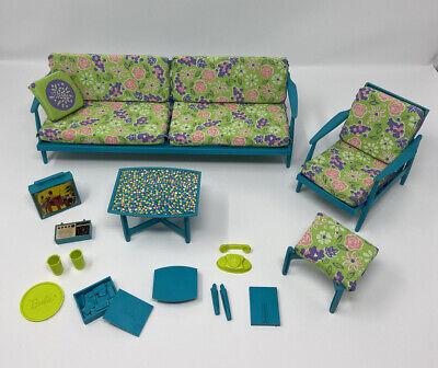 Vintage Mattel TURQUOISE Barbie GO TOGETHER LIVING ROOM Furniture & Accessories