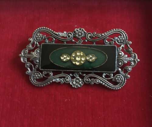 Vintage Jewelry Brooch Pin 1928 Silver Tone Metal Large - $9.00