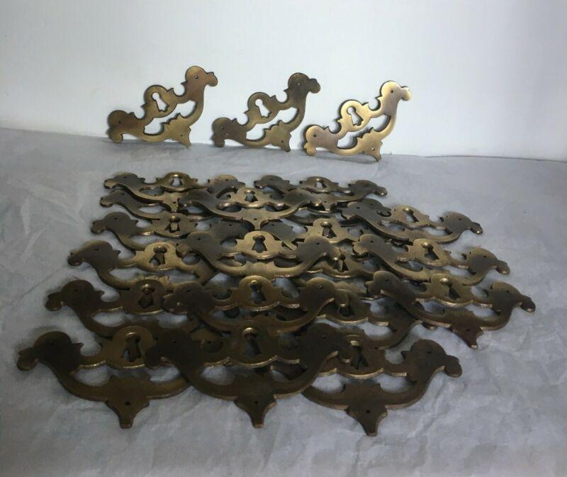 "Lot of 20 Vintage Solid Brass Keyhole Escutcheons E 5641 3 3/4 "" L x 2 1/4 "" H"
