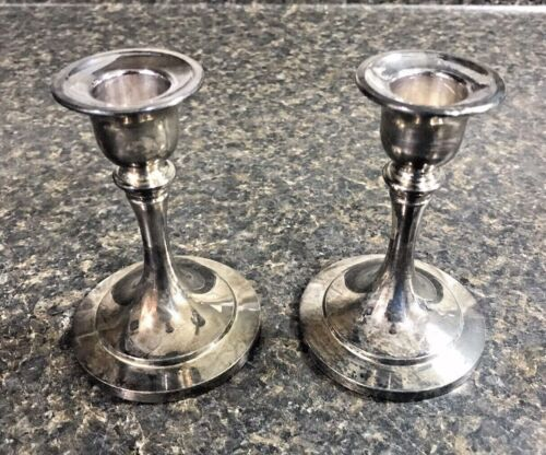 """Vintage Pair of ONEIDA SILVERSMITHS Silver Plated Candlestick Holders 4"""" Tall"""