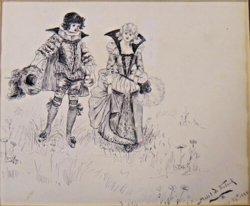 Original Madel de Fabeck Signed and Dated 1888 Pen and Ink Matted Art 7x9