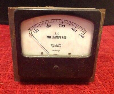 Vintage Triplett Ac Milliamperes Panel Meter Gauge 0-500 Model 430 Glass Face