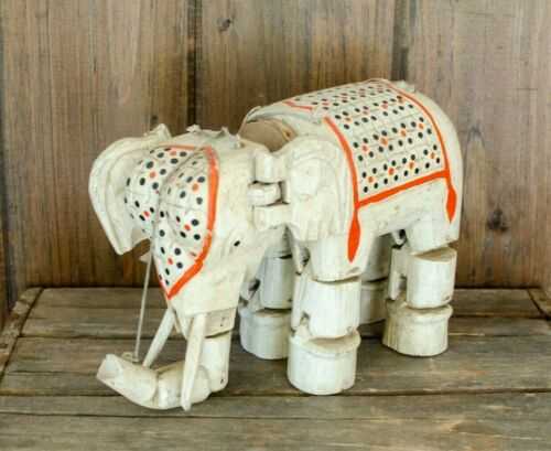 Antique India Wood Wooden ELEPHANT,Hand Carved,MARIONETTE,PUPPET