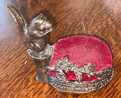 VINTAGE Metal SQUIRREL PIN CUSHION Red Pad