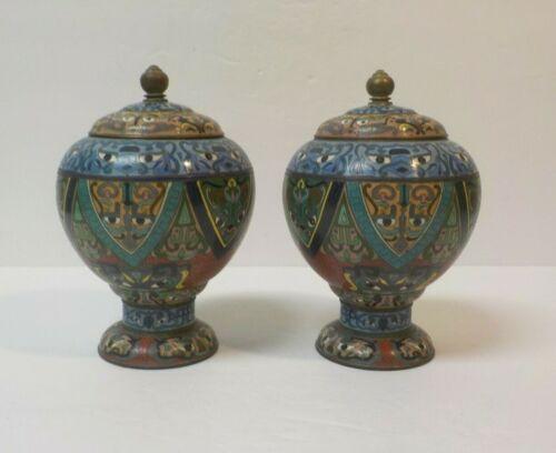 Pair 19th C. Japanese Cloisonne on Bronze Lidded Vases