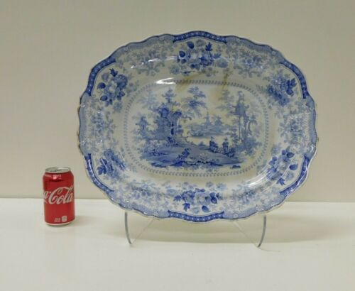 MASSIVE Antique 1830s FAIRY VILLAS Staffordshire Transferware Platter 17 1/2 X