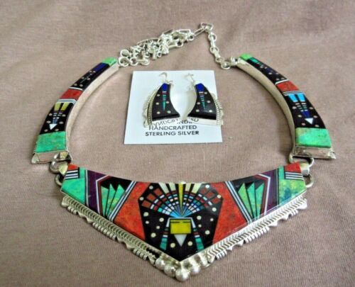 Navajo Inlay Multi-Stone & Sterling Silver Necklace & Earrings by Ray Jack JN358