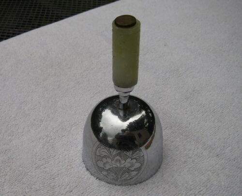Old CHINESE CHROMED BRASS BELL w/ JADE BEAD HANDLE-NR