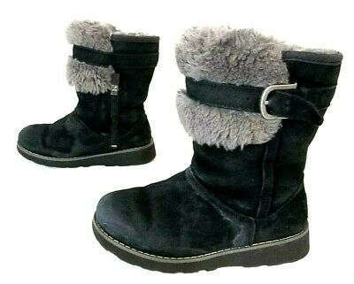 Ugg Australia 1008857K Kid's Skylir Boot Youth Size US 13 Black Suede Gray Fur