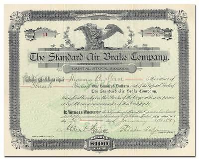 Standard Air Brake Company Stock Certificate  Westinghouse