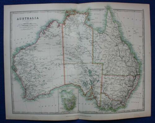 Original antique map AUSTRALIA, TASMANIA,  A.K. Johnston, 1896