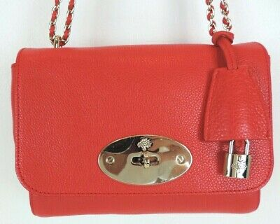 Authentic Mulberry Small Classic Grain Red HibiscusLily NWT