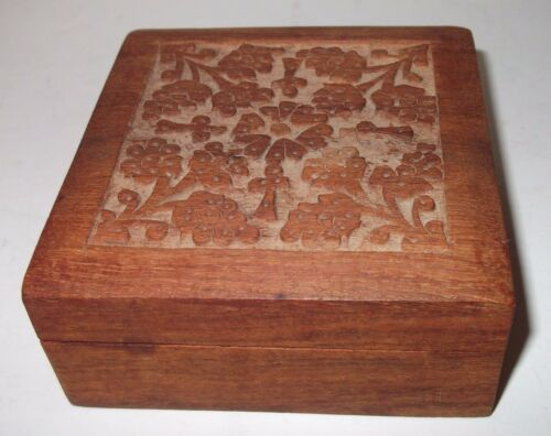 Wooden Hinged Carved Box Floral Pattern 4x4x1.5