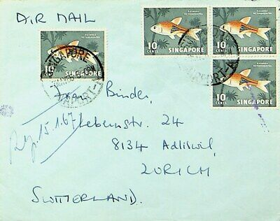 SINGAPORE 1966 8v FISH ON AIRMAIL COVER W/ ORDERLY ROOM CACHET TO SWITZERLAND