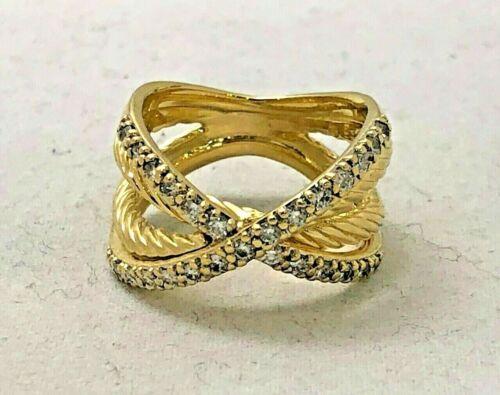 David Yurman Diamond X Crossover 18k Yellow Gold Open Band Ring Size 6.5