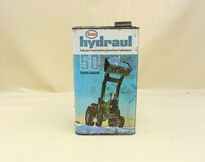 Vintage 1 Gallon ESSO Hydraulic All Season Motor Oil Can Tin Tractor Advertising
