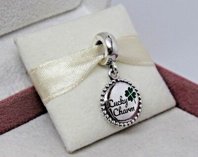 Pandora w/Box Lucky Charm 4 Leaf Clover Charm ENG791169_81 US Exclusive Luck
