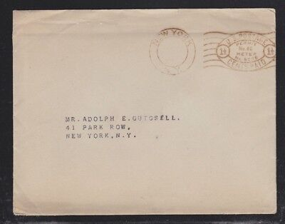 USA 1920(?) NEW YORK PERMIT METER COVER W/UNITED ELECTRIC LIGHT & POWER POSTCARD