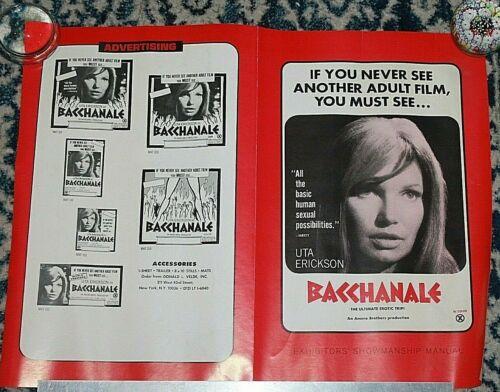 "UTA ERICKSON Exhibitors Manual BACCHANALE 11"" X 17"" sexploitation X-rated movie"