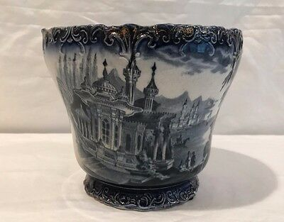 ANTIQUE FLOW BLUE FLOWER/POT/PLANTER/DECOR