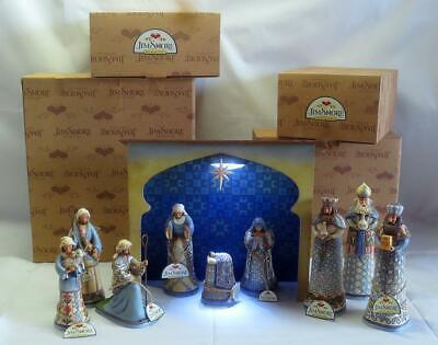Jim Shore BLUE NATIVITY A Savior is Born Bringing Praise Bearing Gifts & Stable ()