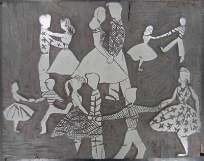 Vintage Letterpress Print Cut 6x7-58 Dance Studio Lessons Couples  Mb81  1