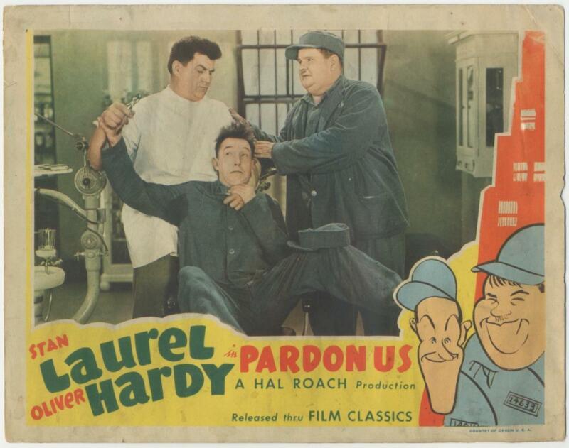Pardon Us 1944 Re-Release Lobby Card Stan Laurel Oliver Hardy