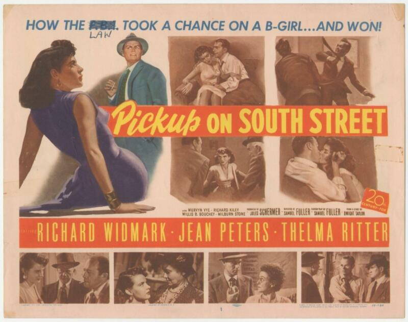 Pickup On South Street 1953 Original Release Title Lobby Card Noir Widmark
