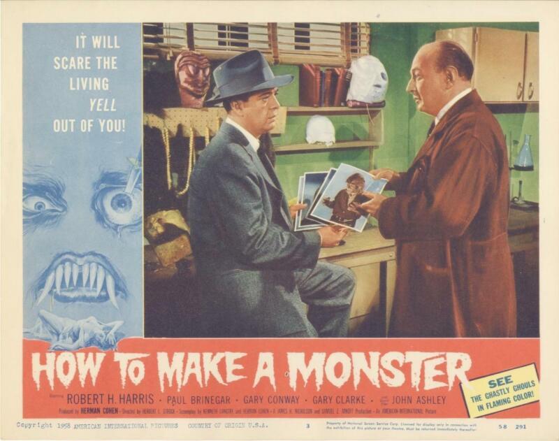 """HOW TO MAKE A MONSTER""-ORIGINAL LOBBY CARD-#2-SCI-FI-HORROR-ROBT H HARRIS-PICS"
