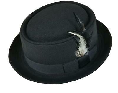 Wool Blend Pork Pie Porkpie Pork Pie Round Top Fedora Hat With Feather (Felt Hat With Feather)