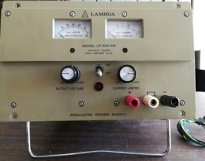 Lambda Lp-533-fm Regulated Dc Power Supply 0-60 Volts 0-2.4 Amps