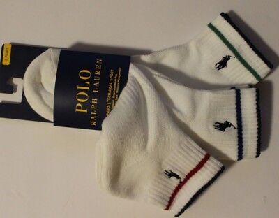New Polo Ralph Lauren 3-Pair Athletic Quarter Socks Technical Sport Pony -