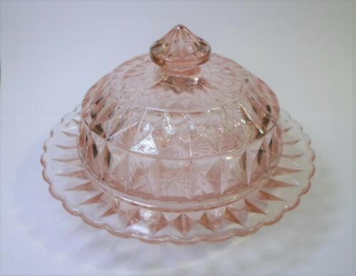 Vintage PINK Depression GLASS BUTTER DISH by JEANNETTE - WINDSOR DIAMOND 2 Pc