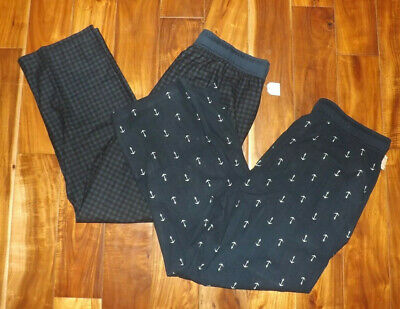 NWT Mens NAUTICA Sleepwear 2 pk Navy Blue Checkered Anchor Fleece Pajama Pants L
