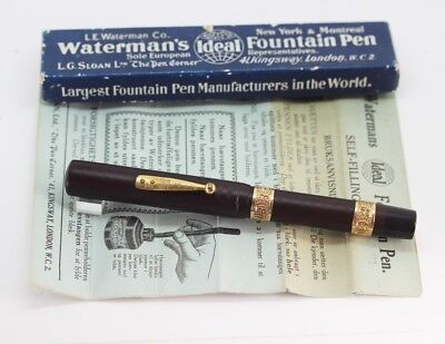 Vintage WATERMAN 18 Fountain Pen BCHR XL EYEDROPPER #8 Flex NIB Gold Bands Box